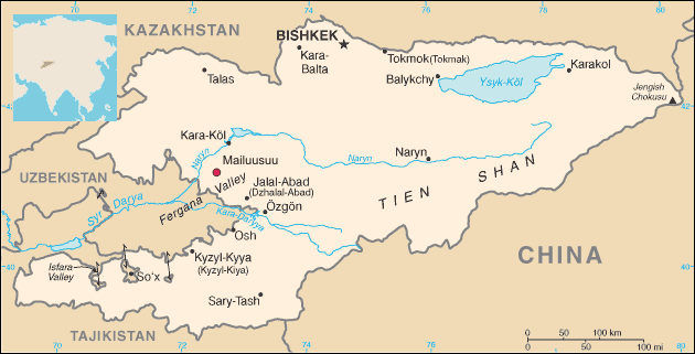 BGR - Umweltmonitoring - Outline map of Kyrgyzstan