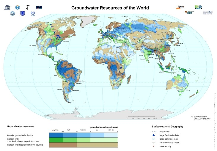 World Map Water.Bgr Whymap Groundwater Resources Of The World