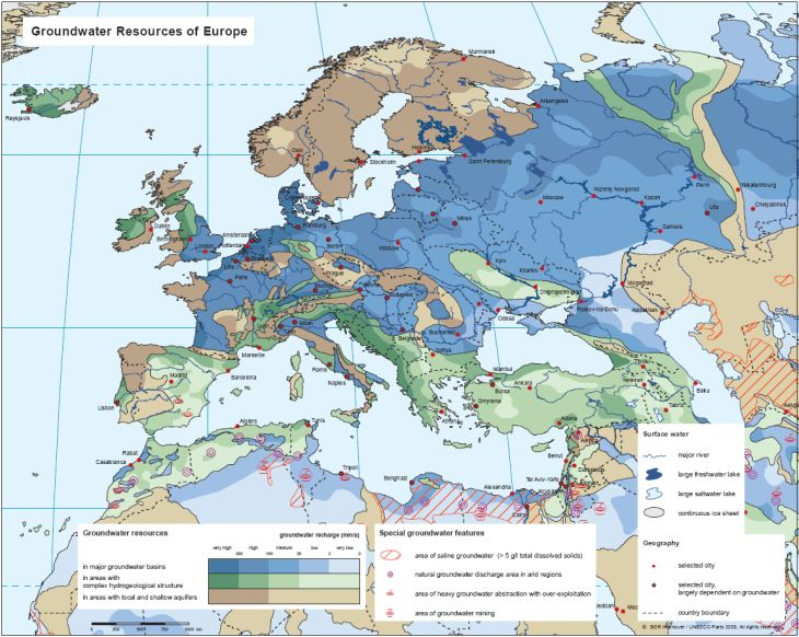 Map Of Europe With Bodies Of Water.Bgr Whymap Groundwater Resources Map Of Europe