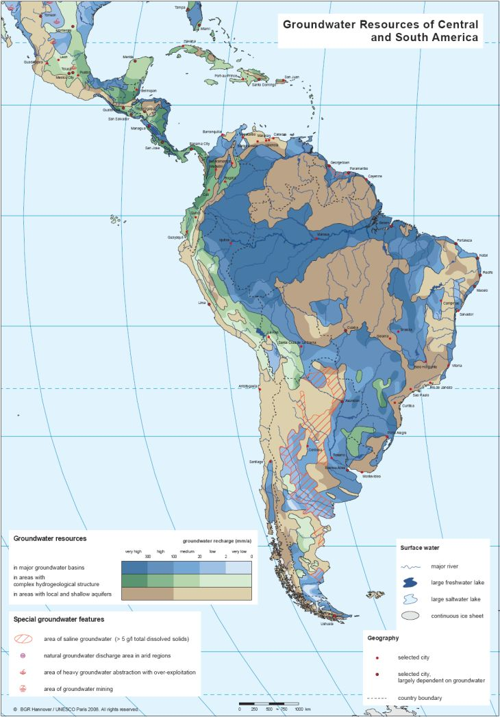 Central And South America Map BGR   WHYMAP   Groundwater Resources Map of Central and South America