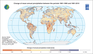 Change of mean annual precipitation between the periods 1961-1990 and 1981-2010